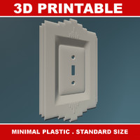 3d model of printable art deco light switch