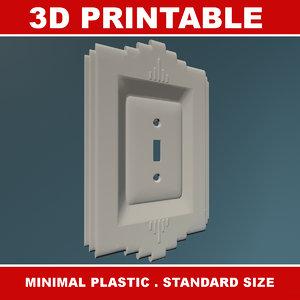 3d model of printable art deco light switch