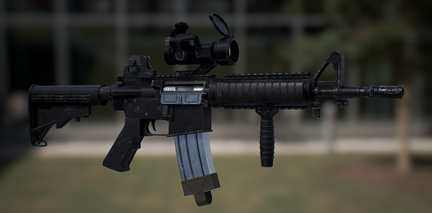 m4 rifle custum 3d model