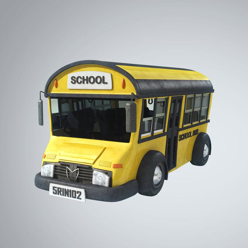 3d model stylized bus school