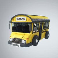 3d model stylized bus school