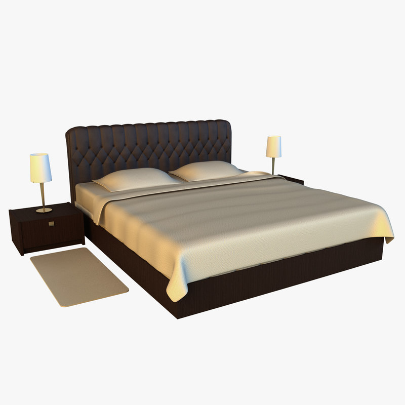 large bed leather base 3d model