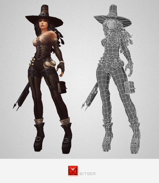 character female hunter 3d ma