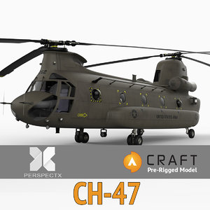 pre-rigged ch-47 chinook helicopter 3d 3ds