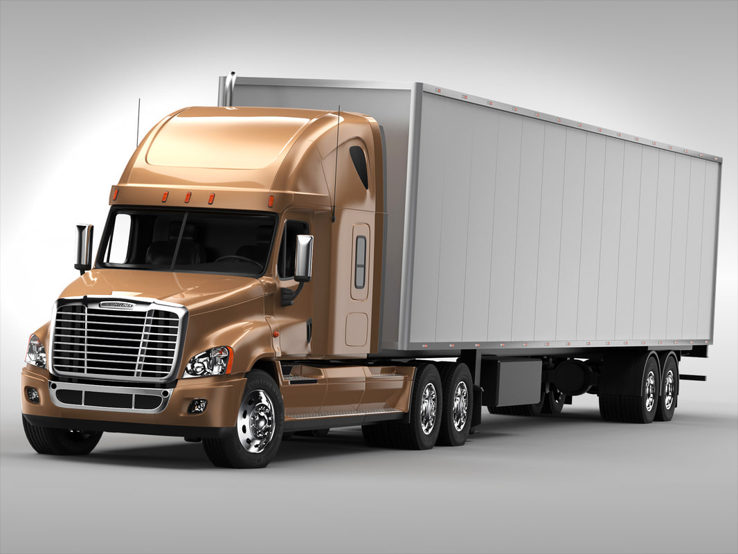 trailer freightliner truck 3ds