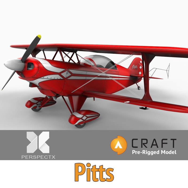 3d pre-rigged pitts special bi-plane