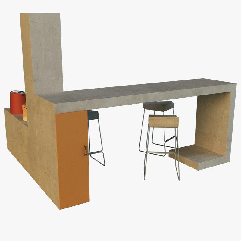 bar art nouveau style 3d 3ds