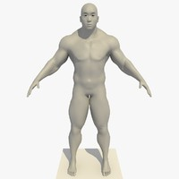 3d model realistic asian man rigged