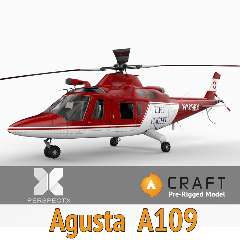 pre-rigged agusta a109 helicopter 3d model