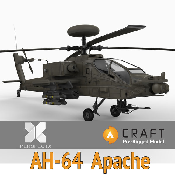 3d model pre-rigged ah-64 apache rigged