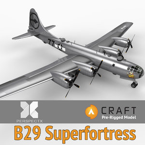 3ds max pre-rigged b-29 superfortress craft