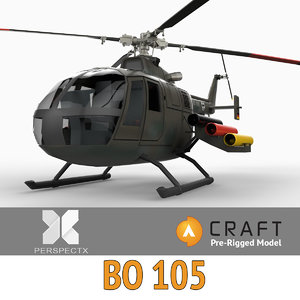 pre-rigged bo105 helicopter rigged 3ds