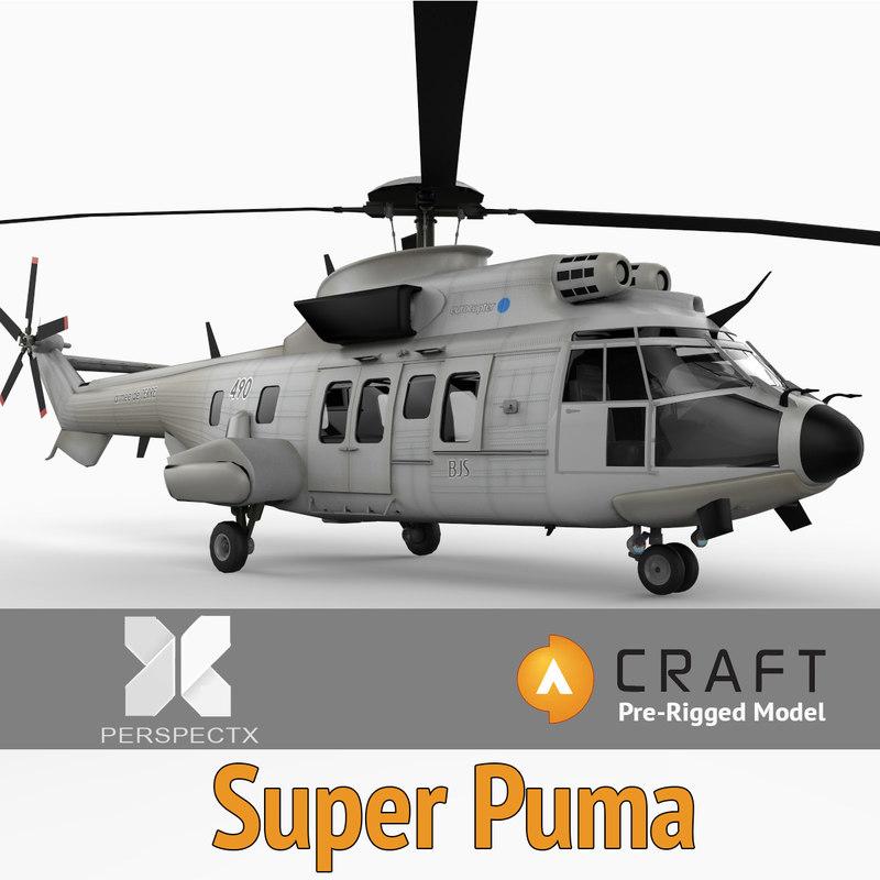 3d model eurocopter super puma pre-rigged