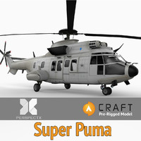 3d model eurocopter super puma pre-rigged