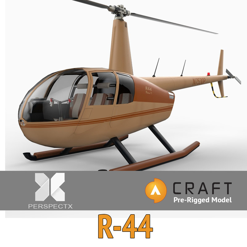 3d model robinson r44 helicopter pre-rigged