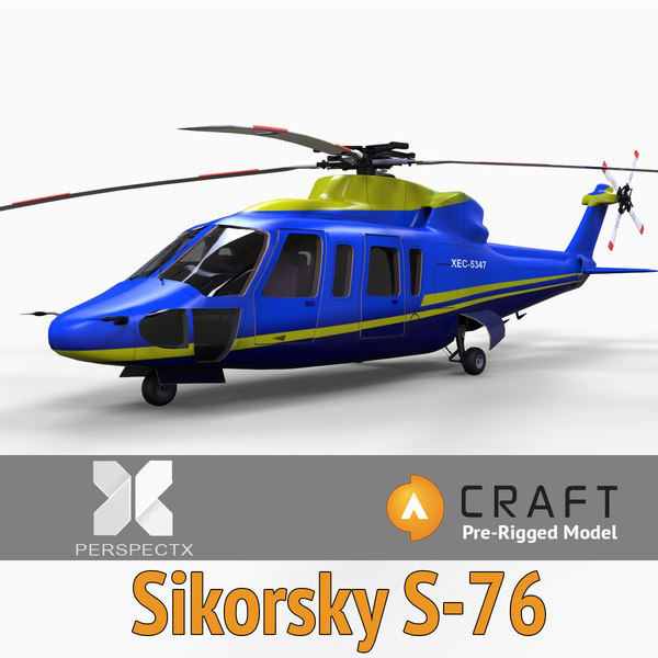 3d model pre-rigged sikorsky s-76 helicopter