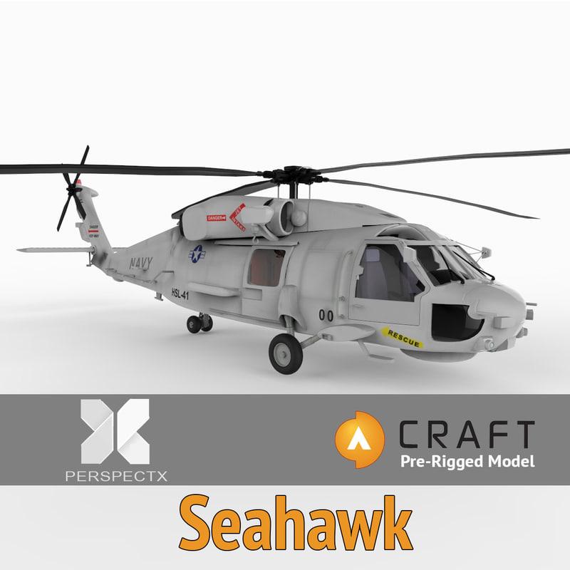 pre-rigged uh60f seahawk craft 3d model