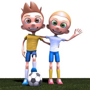 3d cartoon soccer players