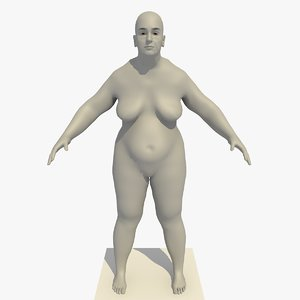 realistic base mesh obese 3d model