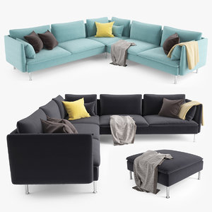 3d ikea soderhamn corner sofa model