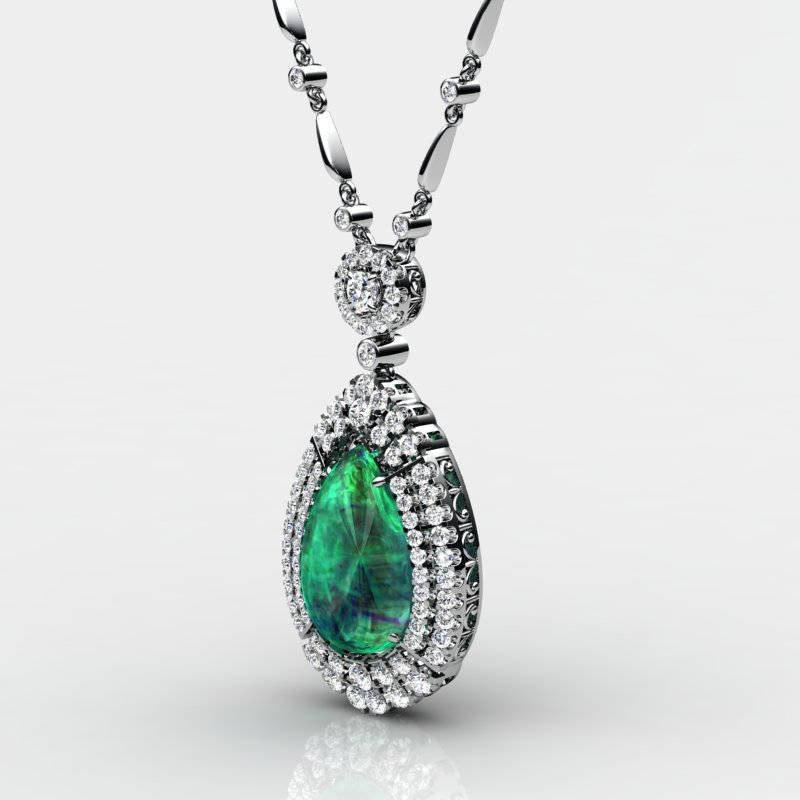 3d pear diamonds pendant model
