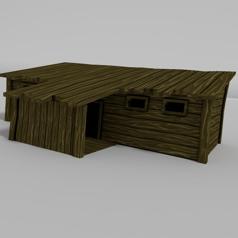 3d wooden cabin model