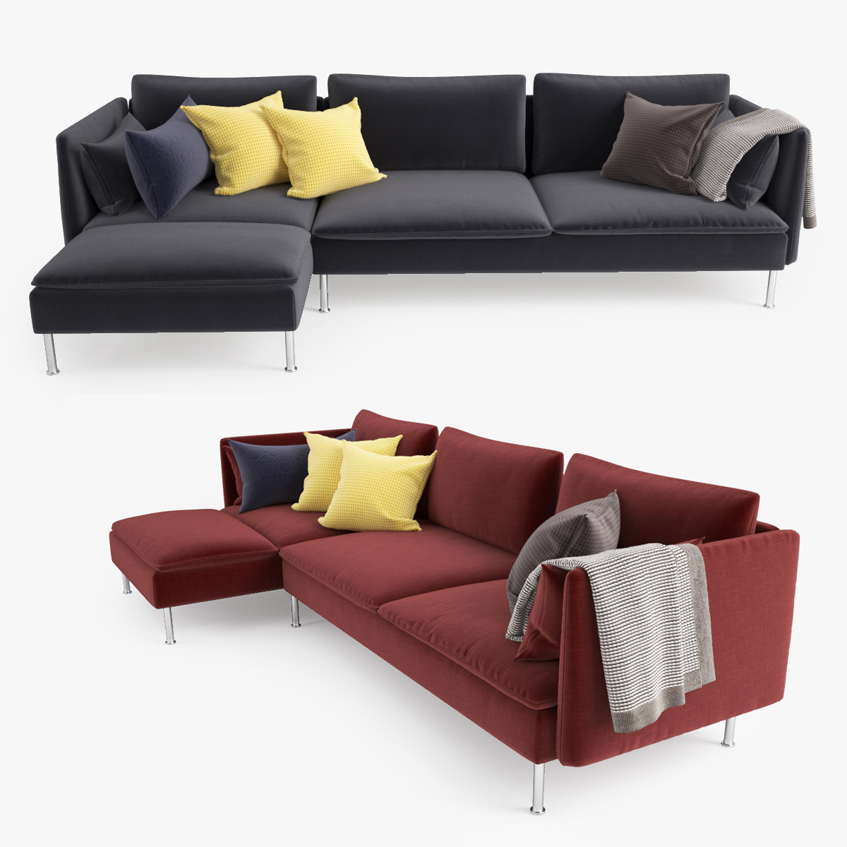 amazing d model ikea soderhamn sofa chaise with ikea chaise. Black Bedroom Furniture Sets. Home Design Ideas