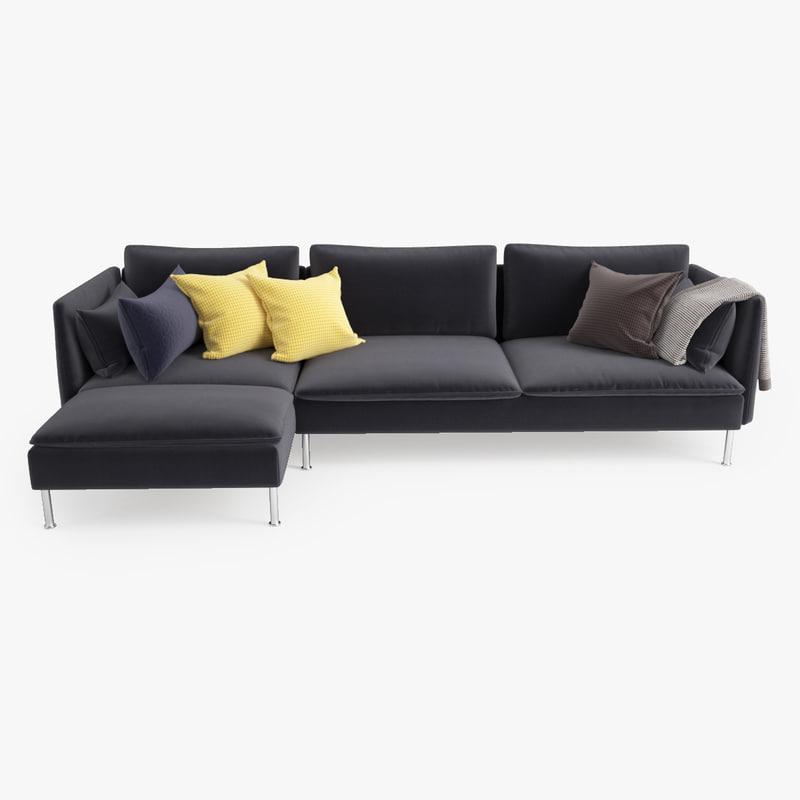 ikea soderhamn threeseat sofa and chaise longue