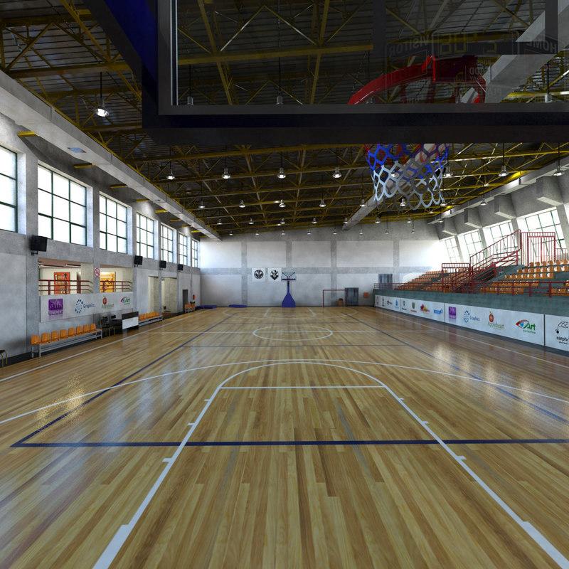 indoor basketball court 3d model