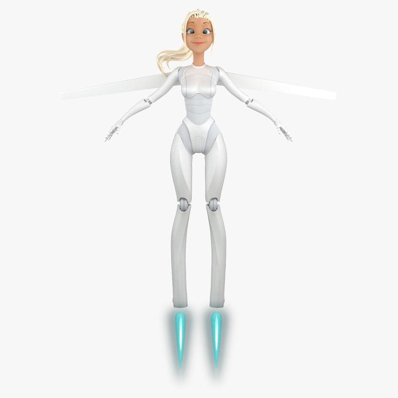 3d model cartoon robot girl