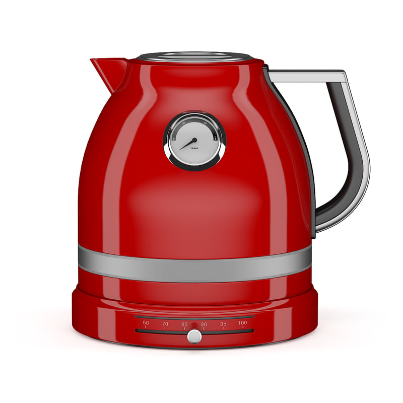 3d model red electric kettle