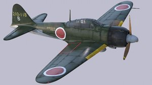 3d mitsubishi a6m2 type 22 model