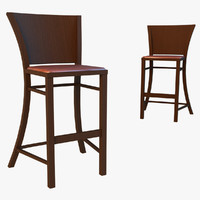 3d bar stool dark wood model