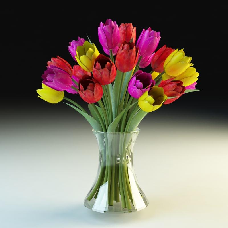 3d model of tulips vase