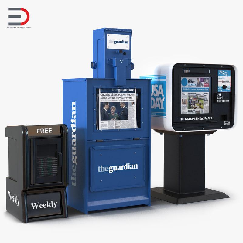 3d model newspaper boxes