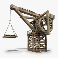 3d model old wooden crane