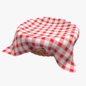 wicker basket cloth 3d model