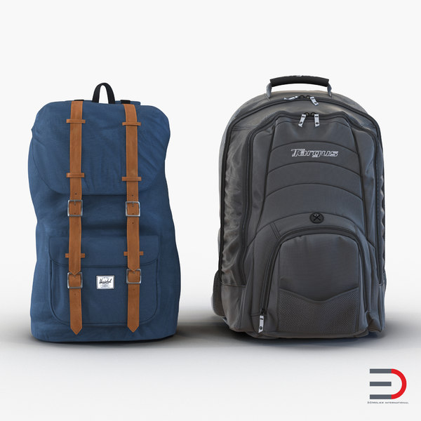 backpacks set realistic 3d model