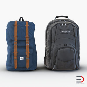 backpacks set realistic 3d model
