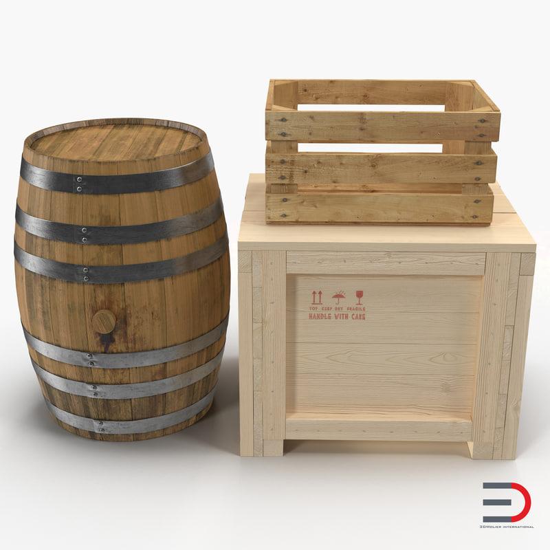 wooden conteiners barrel crate 3d model
