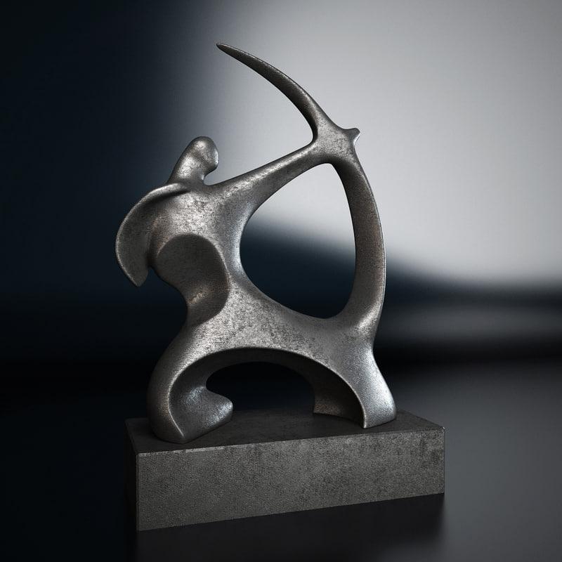 3d archer statuette model