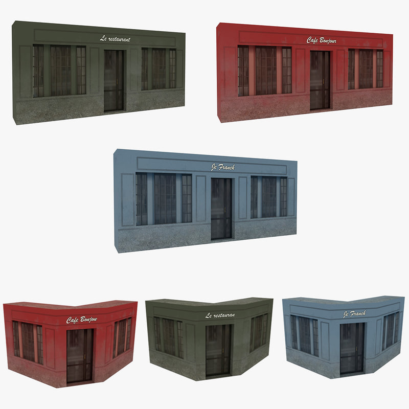 facades pack french building walls 3d model