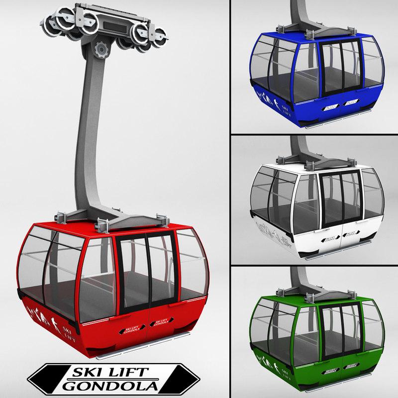 3d 3ds ski lift gondola cable car