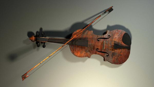rustic violin 3d max