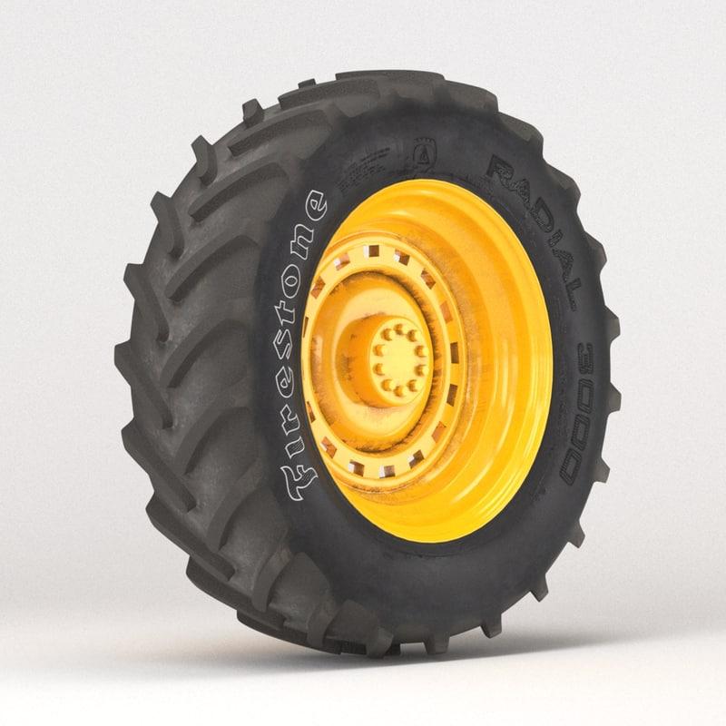 3d model tire firestone radial 3000