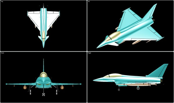 3d model euro typhoon fighter aircraft