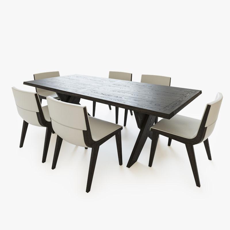 3d table chairs b italia