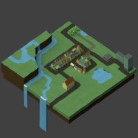 low-poly town 3d model