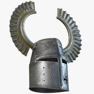 horned teutonic knight helmet 3d model