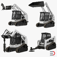 compact tracked loaders rigged 3d model